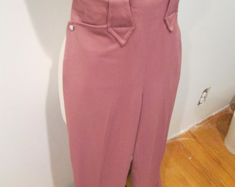 Cowgirl Must Have Vintage 1940s 40s Old Pink Gabardine Riding Ladies Pants with Pearl Snap -Allen-Western Swing-Ranch-Hillbilly-Rockabilly