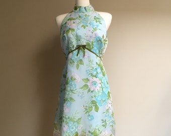 1960s Floral Chiffon Party Dress, Large