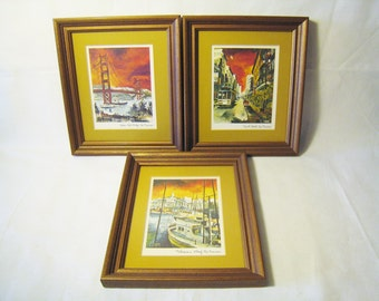 20% Off SALE / 1970s Framed Prints of San Francisco Landmarks / Tourist Souveniers / Golden Gate Bridge, Powell Street, Fisherman's Warf