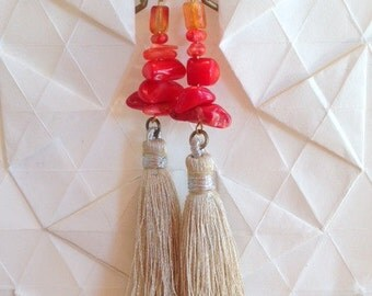 Red Ombre Tassel Earrings with Brass Leverbacks - Coral and Citrine Bead Earrings - GIFTS UNDER 40 -