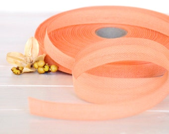 "Peach Cotton Ribbon - 3 or 6 Yards of 100% Cotton Ribbon - 1/2"" Wide - Loose Weave Peach Ribbon - Buy More and Save - Eco Friendly Ribbons"
