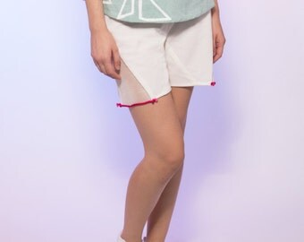 White Knit High Waisted Shorts Mesh Cut Out with Pink Rope Detailing