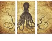 Golden Octopus Triptych on Vintage World Map, Art Print on Canvas, Kraken Art, World Atlas, Octopus Print, Nautical Art, Beach Art Large Art