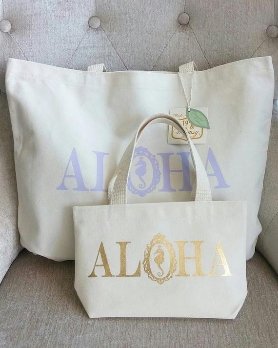 Gold Mini Seahorse Aloha Tote