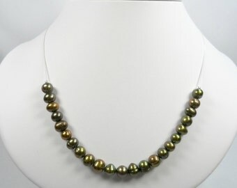 Sterling Silver Beaded Necklace with Genuine Freshwater Olivine Pearls - 20 inch length