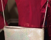 Vintage Iridescent metal white mesh Purse