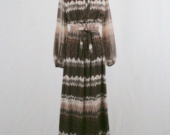1970s Brown Zig Zag Maxi Dress Sheer Sleeves by Luigi of Naples