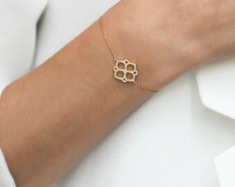 Delicate Gold Bracelet, Dainty Gold Bracelet, Hexagon Charm, Friendship Bracelet, Charm Bracelet, 14K Gold, Nickle Free, Gift For Her  B208