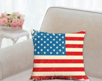 4th of July Rustic Flag Pillow