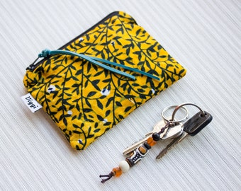 African Batik Black & Yellow Coin Purse, Change Purse, Small Zippered Wallet, Mini Pouch, Cosmetic Bag, Wax Fabric Pouch, Gift for Her