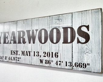 Custom Family Name Sign, Front Porch Sign, Last Name Wall Art, Dining Room Decor, Personalized Wood Sign, Rustic Latitude Longitude Sign