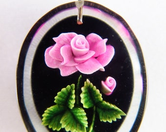 Reserved for Ms K! Pendant! Vintage Lucite Pink Rose Intaglio Pendant, Reverse Carved