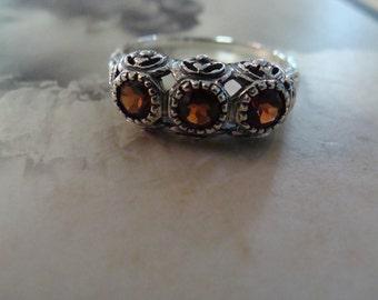Unique Sterling Silver Garnet 3 stone filigree  Ring  Size 8.5