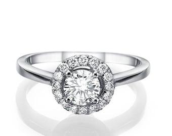 "Diamonds Engagement Gold Ring 0.71 carat D/SI1 ""Open Sunshine Ns"" Design White/Yellow/ Rose gold 14k"