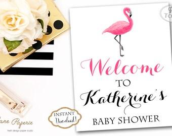 INSTANT DOWNLOAD - Baby OR Bridal Shower Welcome Sign Flamingo Tropical Luau - Hawaiian Flamingo Welcome Sign - Flamingo- 0215 - 0216 - 0217