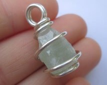 Green Apophyllite Pendant / Sterling Silver Raw Crystal Necklace / Healing NATURE / Deva Connection / Removes TOXINS Emotional & Physical