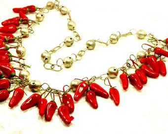 Vintage Mexican Wedding Necklace of Silver Tone Balls and Filigree Chain with Red Peppers, Shorter than Traditional