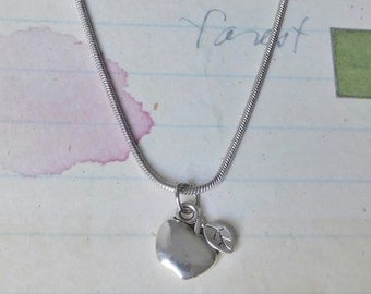 Apple for the Teacher Necklace - Apple Charm on a 17 inch silver snake chain.  Perfect Teacher Gift!