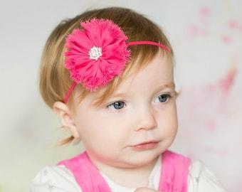 Hot Pink Flower Headband, Hot Pink Headband, Hot Pink Bow, Hot Pink Flower, Hot Pink Accessories, Hot Pink Photo Prop, Pink Baby Headband