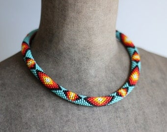 Native American Inspired Necklace, Bead Crochet Necklace, Reversible Rope Necklace, Ethnic Beadwork Inspired, Ethnic Beadwork-MADE TO ORDER