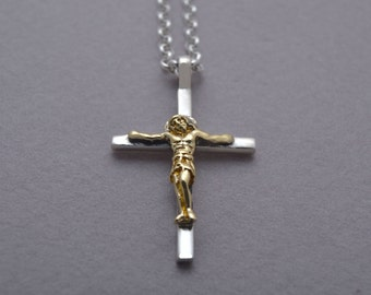 Jesus Christ Cross, Crucifix Cross Necklace for Men Women in 14 KT Gold and Sterling Silver, Baptism Crucifix, Christening Gift ST707