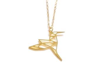 HUMMINGBIRD ORIGAMI NECKLACE, Geometric bird, flying bird, bird necklace gold bird hummingbird pendant origami necklace, Animal Jewelry