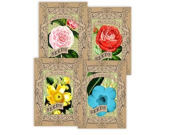 Printable seed packets / printable vintage flower cards / digital collage sheet / instant download / downloadable / flower garden