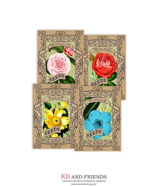 Printable Seed Packets Vintage Flower Cards Digital