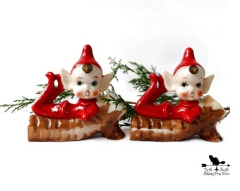 Small Vintage Christmas Elf Twins, Red Porcelain Pixies, Christmas Decor, Nostalgic Holiday Collectible, Holiday Figurine 209B