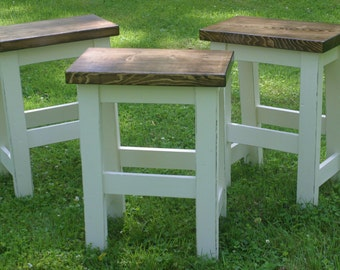 "Custom Bar Stools, Paint to Order, Backless, 29"" Bar Stool, 24"", Rustic, Counter Height, Square Seat, Round, Rectangle, Farmhouse Stools"
