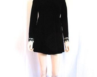 """1960s Black Velvet Empire Waist Mini Dress Sz. S """"Young East Sider"""""""