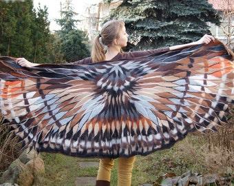 Impressive wing scarf, nuno felted brown owl winged scarf, felt poncho, bohemian fashion, wearable art, OOAK