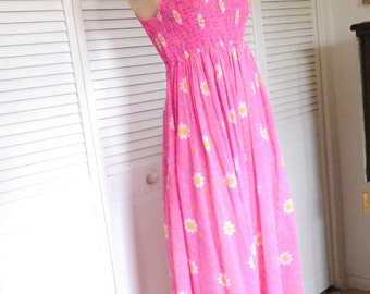 Pink Maxi Dress 60s Style Elastic Bodice Size Small Cotton Summer Dress Halter Maxi Dress Boho Bohemian Vintage