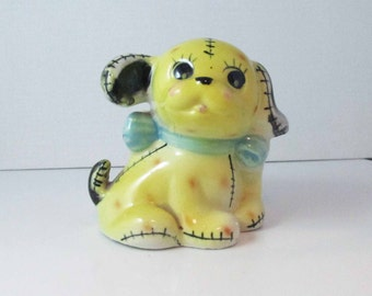 Shafford Japan Yellow Puppy Dog Planter #4303 Hand Decorated Pottery Planter Vintage