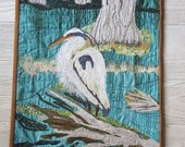 Heron Wall Hanging, Landscape Quilt,  Bayou,  Raw edge Quilt, River Landscape, Applique quilt, Wall decor, thread painting, mini quilt