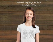 Coloring Book Page T-Shirt - Girls Hungry Bear