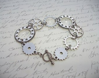 Steampunk antique silver bracelet