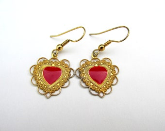Vintage Heart Earrings Red and Gold Tone Earrings Hanging Earrings Red Heart Earrings