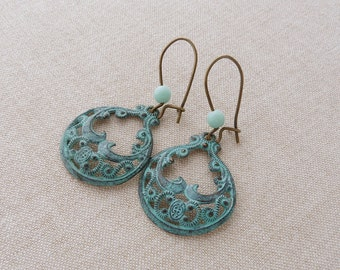 Rajani. earrings vintage indian style brass romantic modern vintage patinated brass boho lightweight earrings blue green patina verdigris