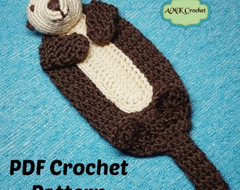 PATTERN Crochet Baby Sea Otter Lovey Security Blanket, Sea Otter Buddy Blanket Plush Toy Crochet Pattern Instant Download PDF