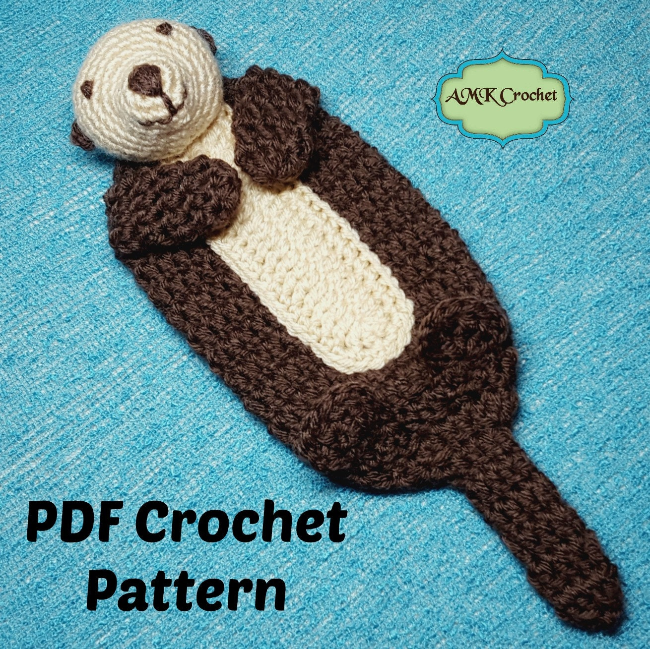PATTERN Crochet Baby Sea Otter Lovey Security Blanket Sea