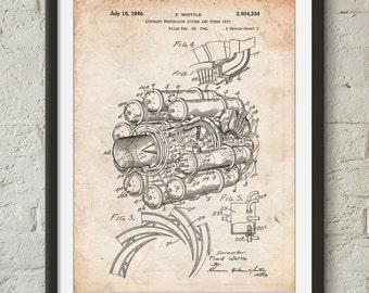 Jet Engine Poster, Aviation Decor, Jet Engine Patent, Airplane Decor, PP0014