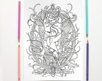 coloring page pdf the nightingale and the rose by oscar wilde instant