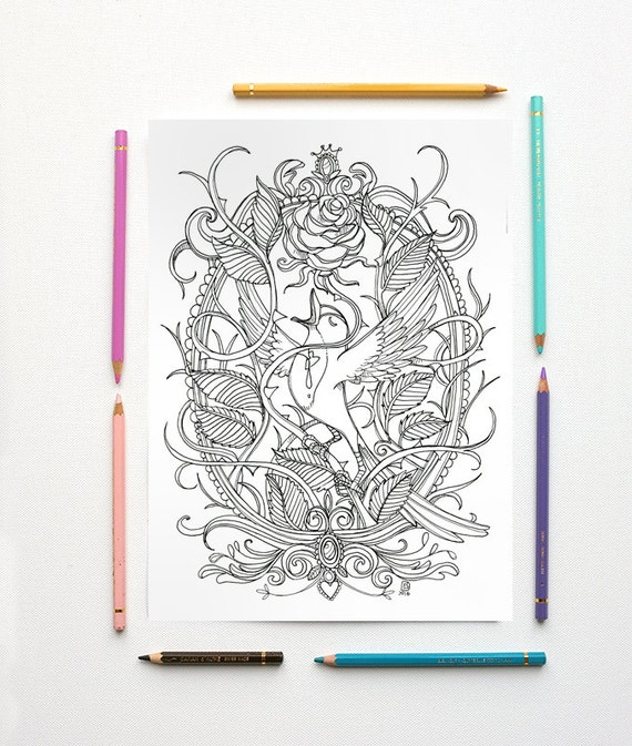 coloring page pdf the nightingale and the rose by oscar wilde instant download art printable illustration from mrspeggottyarts on etsy studio