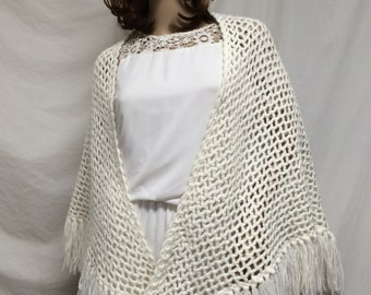 Knit shawl,white, knit wrap ,shawl, fringed