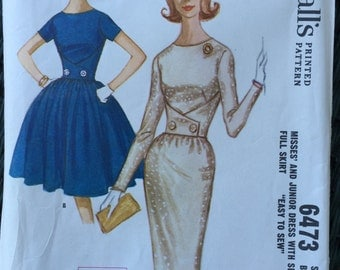 Dress Gathered or Slim Skirt Miss/ Junior Size 16 FF UNCUT McCall's 6473 Easy Sew