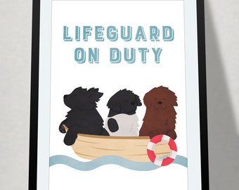 Newfoundland dog • lifeguard on duty poster