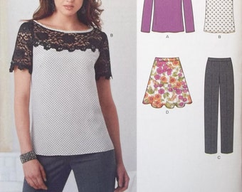 Simplicity -- New Look 0947. Sizes US 4-16.  Top, skirt, and slacks pattern. Create an entire wardrobe with just one pattern. New and uncut.