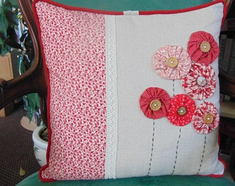 Decorative Red Floral Cushion