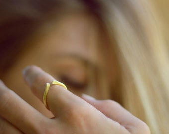 Thin Gold Stack Ring, Minimalist Ring, Geometric Ring, Stacking Ring, 14k Gold Filled & Sterling Silver